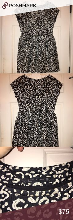 Zara Fit and Flare Dress Zara Fit and Flare Black and white dress with side zip closure. Worn once. Zara Dresses