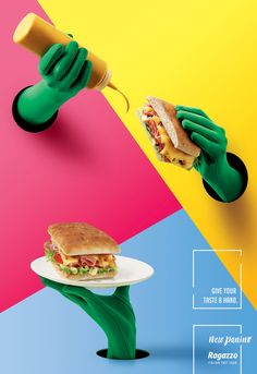 Ragazzo: New Paninos: Give your taste a hand. - Advertising - Poster, Ad, Geometric Shapes, Hands, Gloves, Food, Bread, Bright Colors, Magenta, Cyaan, Yellow, Pink, Blue, Minimal Typography