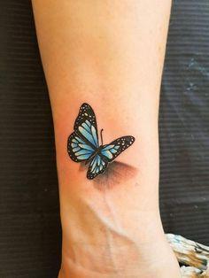 Tats – Tattoo Ideen – - Famous Last Words Realistic Butterfly Tattoo, Colorful Butterfly Tattoo, Butterfly Tattoo On Shoulder, Butterfly Tattoo Designs, Small 3d Tattoos, Mini Tattoos, Tattoos For Guys, Tattoos For Women, Tattoo Small