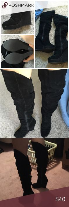 """PRICE CUT! Beautiful knee-high wedge heel boots! Previously loved and showing some wear but still in great condition. Zippers on the side. From knee to heel about 23"""" high. Heel is just under 5"""". These are very sexy shoes, perfect for a night out in AC! ❤️ make offers! Shoes Over the Knee Boots"""