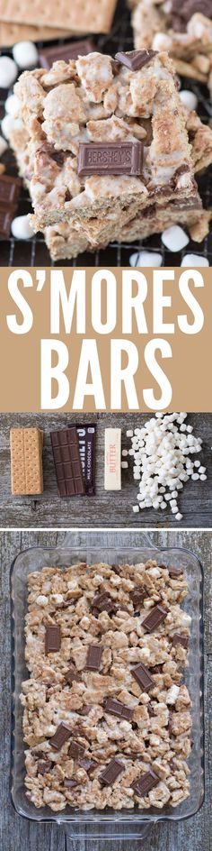 S'MORES BARS! Gooey marshmallow, graham cracker and chocolate s'mores bars! Like rice krispies but with graham crackers. This is the ultimate s'mores treat!