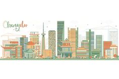 Abstract Chengdu Skyline with Color Buildings. Business Travel and Tourism Concept with Modern Architecture. Image for Presentation Banner Travel Maps, Travel And Tourism, Black And White City, Skyline Silhouette, Chengdu, Line Icon, Business Travel, Modern Architecture, Illustrations