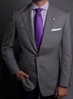 Dark Grey Suit and Deep Purple Tie. Tie could be a little skinnier ...