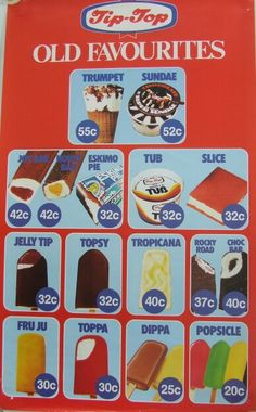 Mid Tip-Top Ice Cream Range Poster - New Zealand - Wow look at the prices! Tip Top Ice Cream, Ice Cream Prices, Nz History, New Zealand Food, Nz Art, Kiwiana, All Things New, Photo Memories, 80s Kids