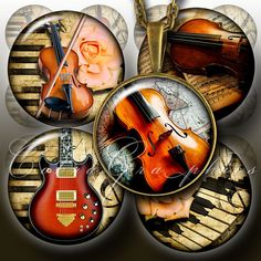 Musical Instruments  Digital Collage Sheet CG458  by CobraGraphics, $3.90