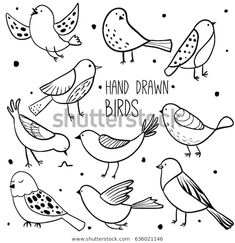 Collection of cute hand drawn bird doodles. Black on white vector set Bird collection. Collection of cute hand drawn bird doodles. Black on white vector set Bird Drawings, Doodle Drawings, Easy Drawings, Tier Doodles, Bird Doodle, Doodle Images, Bird Sketch, Animal Doodles, Doodle