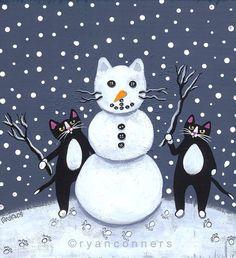 Snowman Cats Original Folk Art Painting by KilkennycatArt on Etsy