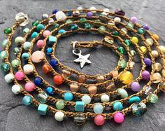 Colorful crochet wrap bracelet necklace, Lil' Rainbow multi coloured crochet, Sterling star everyday wrap boho by mollymoojewels