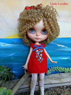 Blythe or Pullip Doll bright red mohair dress with blue & cream bullion flowers, french knots by LittleLovelieShop on Etsy