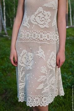 filet crochet dress, no pattern but the previous two pinned boards is to be used for figuring out the pattern.