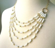 Multi-Strand Statement White Vintage Beaded by 3MariesDesigns