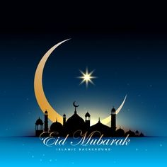 Blue eid mubarak design with mosque and moon Free Vector Photo Eid Mubarak, Carte Eid Mubarak, Eid Mubarak Hd Images, Eid Mubarak Banner, Eid Mubarak Wishes, Happy Eid Mubarak, Ramadan Mubarak, Eid Wallpaper, Images Wallpaper
