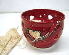 Yarn Bowl, Knitting Bowl, Crochet Bowl, Red, Heart designs all around / Handmade Ceramics / Vogue Knitting LIVE