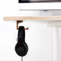 Vogek L Type Headphone Stand, Elegant Wooden Under-Desk Headphone Hanger, Universal On Ear Headphone Stand to place your Over Ear headhone Conveniently, suitable for home and office use.