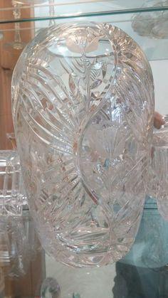 "Tulip engraved leaded glass vase, 8""Hx4""D."