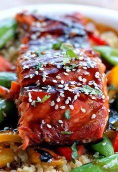 Sesame Ginger Sweet Teriyaki Salmon with Garlic Quinoa Stir-fry Recipe