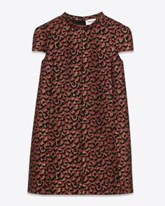Laurent Saint Band Collar Mini-robe en noir, rouge et orange Leopard Jacquard | ysl.com
