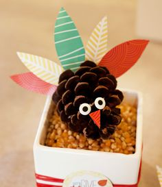 Kids Thanksgiving Craft: Colorful Pinecone Turkeys