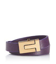 """SKINNY """"T"""" PUSH LOCK DOUBLE WRAP BRACELET #toryburch #purple #bracelet"""