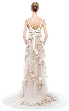 3D Silk Ribbon Rose Empire Waist Gown by Marchesa for Preorder on Moda Operandi