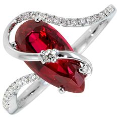 Chatham Cultured Created Ruby Ring in 14kt White Gold with Diamonds. So beautiful and unique!