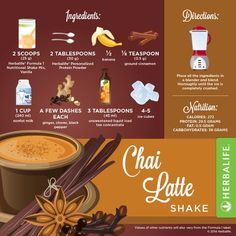 Recette Shake Formula 1 vanille Herbalife Chaï Latte