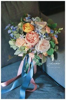 Prom Flowers, Flower Bouquet Wedding, Floral Wedding, Lydia Lee, Periwinkle Flowers, Peach Bouquet, Wedding Officiant, Bride Bouquets, Wedding Wishes