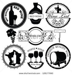 Collection of Premium Quality Wine Labels with retro vintage styled design  Vector set with decorative elements - glasses for white wine, grapes, bottle, grapes  and decoration by geraria, via Shutterstock
