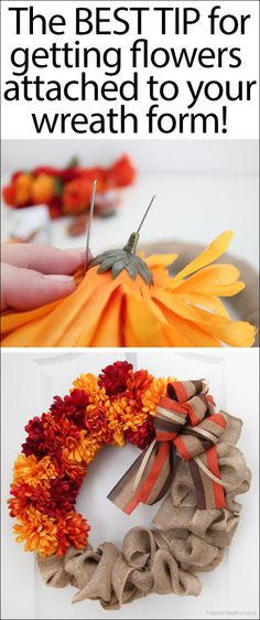 Fall Burlap and Flower Wreath Trick for putting flowers on a wreath with pins instead of hot glue! Cute Crafts, Fall Crafts, Holiday Crafts, Diy Crafts, Burlap Crafts, Holiday Decor, Burlap Flower Wreaths, Holiday Wreaths, Mesh Wreaths