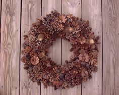 My mother's handmade pinecone and nut wreath.