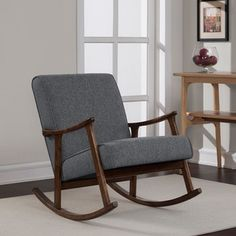 Granite Grey Fabric Mid Century Wooden Rocking Chair - 16562378 - Overstock - Great Deals on I Love Living Living Room Chairs - Mobile
