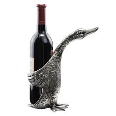 """9"""" Duck Wine Bottle Holder >> I had a boss once that LOVED ducks and I am pretty sure I would have gotten one awesome raise if I gave this to him..."""