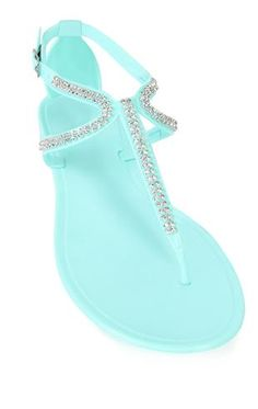 Deb Shops 2 strap thong #sandal with stone accents