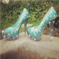 Gorgeous Green Contrast Colour Rhinestone Platform High Heel Prom Shoes Prom Shoes