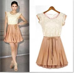 New Womens European Fashion Chic Lace Yards Pleated Sleeveless Dress L006
