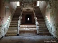 This staircase represents inspiration for how orphanage, The Seagull may look upon entrance. The left staircase to be used by the children. The right -- only to be used by self-professed and acclaimed (un-rightful) owners, Mr and Mrs Pinchfist.