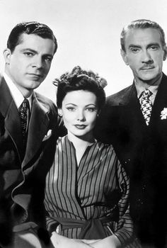 "The key cast of the movie ""Laura:"" Dana Andrews, (the detective) Gene Tierney, (the murder victim) and Clifton Webb (Laura's patron)"