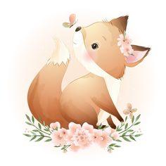 Cartoon Drawings Of Animals, Cute Cartoon Animals, Cute Animal Drawings, Cute Animals, Cute Animal Illustration, Watercolor Illustration, Art Drawings Sketches, Easy Drawings, Doodles Bonitos