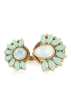 Stella & Dot Zinnia Split Ring MINT AND OPAL FLOWER OPEN RING ADJUSTABLE SIZE #StellaDot #Cocktail