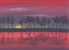 tropical sunset acrylic painting