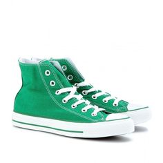 Converse Chuck Taylor All Star High-Tops ($48) ❤ liked on Polyvore featuring shoes, sneakers, converse, sapatos, 18. converse., green, hi tops, high top trainers, converse shoes and converse footwear