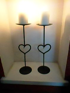 Wrought Iron Heart Featured Candle Holders... By CK.Metalcraft( England_ Wrought Iron Candle Holders, Metal Candle Holders, Candle Stand, Steel Gate Design, Wrought Iron Decor, Christmas Candle Holders, Steel Art, Iron Furniture, Tea Light Holder