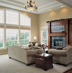 High Tray Ceiling Defines Great Room - Plan 1403  - The Bresley