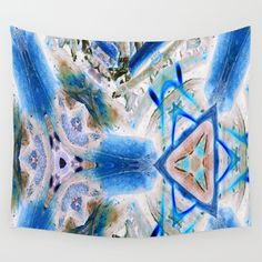 Blue triangle with the mark Wall Tapestry