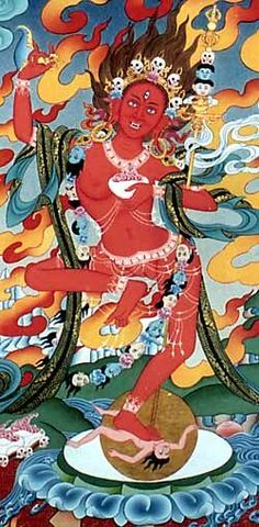 Vam Vajrayogini39s seed sylable dharma et dakinis t Art Buddhist Symbols, Buddhist Art, Tibetan Art, Tibetan Buddhism, Buddhist Practices, Thangka Painting, Wheel Of Life, Gautama Buddha, Mandala
