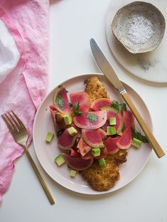 Chicken Milanese with Radish and Herb Salad from plus 30 more fast dinner recipes that serve 2 Watermelon Radish, Radish Salad, Herb Salad, Chicken Milanese, Cooking Recipes, Healthy Recipes, Easy Recipes, Seafood Recipes, Healthy Eats