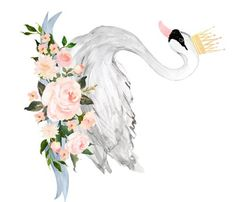 Swan with Roses in White - 90 degrees fabric by shopcabin on Spoonflower - custom fabric Nursery Fabric, Floral Nursery, Nursery Art, Girl Nursery, Swan Painting, Body Painting, Watercolor Paintings, Schwan Tattoo, Tiara Tattoo