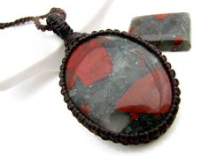 BEAUTIFUL, African Bloodstone Necklace / Bloodstone jewelry  / March Birthstone  / Funky necklace /  gift idea / Unisex / Healing stone