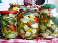 Fruit Salad, Preserves, Pickles, Potato Salad, Menu, Potatoes, Canning, Chicken, Ethnic Recipes