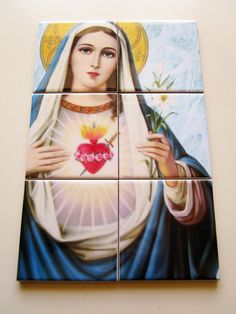 Immaculate Heart of Virgin Mary Mosaic Ceramic by TerryTiles2014